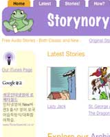Screen shot of Storynory new design