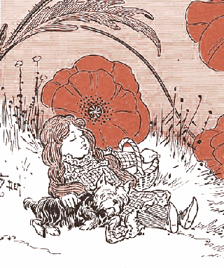 Dorothy of Wizard of Oz in the Deadly Poppy Field